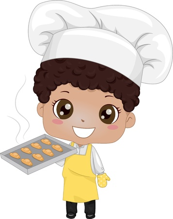 Illustration of a Cute Little Boy Baking Bread illustration