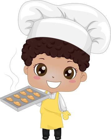 toque: Illustration of a Cute Little Boy Baking Bread