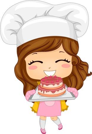 cute: Ilustración de la linda niña hornear un pastel