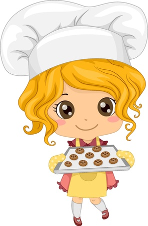 confections: Illustration of Cute Little Girl Baking Cookies