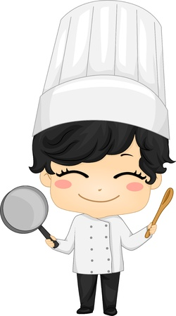 culinary arts: Illustration of Little Chef Boy holding a Saucepan and a Kitchen Spoon