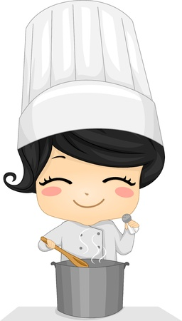 little chef: Illustration of a Cute Little Chef Girl Cooking