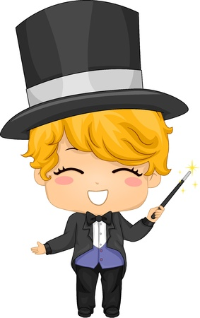 Illustration of Cute Little Boy Magician with Magic Wand Stock Photo