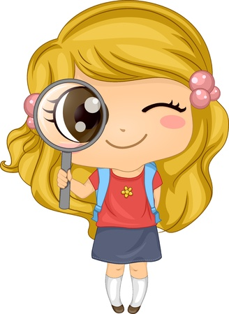 early education: Illustration of a Cute American Girl holding a Magnifying Glass Stock Photo