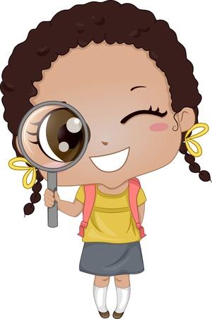 돋보기를 들고 귀여운 아프리카 계 미국인 소녀의 그림