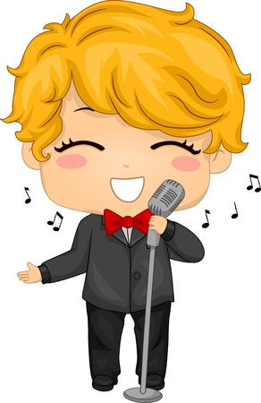 cantando: Ilustración de Little Boy con un micrófono retro para el canto