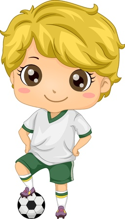 boys cartoon: Illustration of Little Kid Soccer Boy with one Foot on Soccer Ball Stock Photo