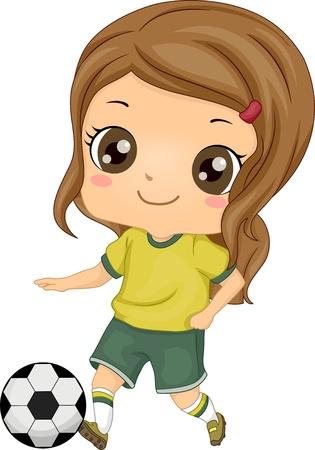 kids football: Illustration of Little Kid Soccer Girl kicking a Soccer Ball Stock Photo