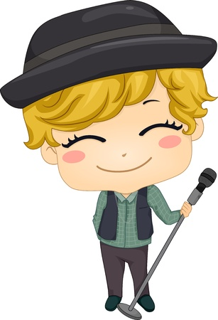 pop singer: Illustration of Little Boy Pop Star holding a Microphone with Stand Stock Photo