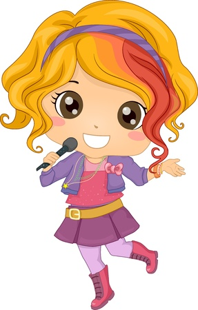 famous people: Illustration of Little Girl Pop Star holding a Wireless Microphone Stock Photo
