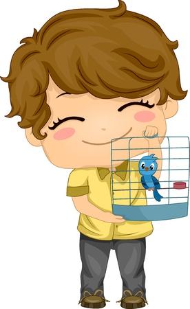 鳥かごに彼のペットの鳥と小さな男の子のイラスト
