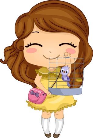 Illustratie van meisje met haar huisdier Bird in een Birdcage Stockfoto
