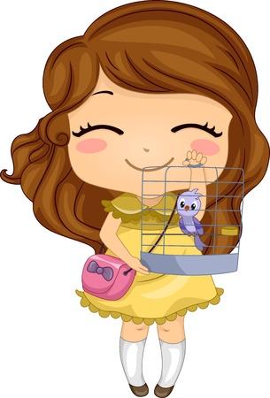 Illustration des kleinen Mädchens mit ihrem Haustier-Vogel in einem Vogelkäfig Standard-Bild - 20040516