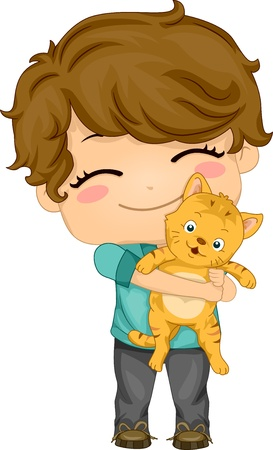 cat clipart: Illustration of Little Boy Carrying his Pet Cat