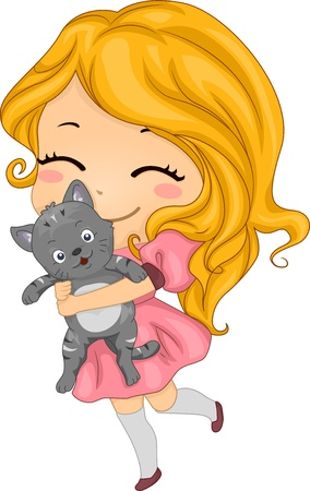 Illustration of a Little Girl Carrying her Pet Cat illustration