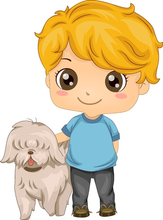 lover boy: Illustration of a Little Boy with his Pet Dog