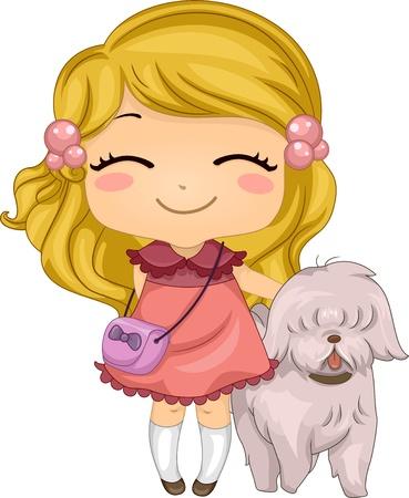 children s art: Illustration of a Little Girl with her Pet Dog