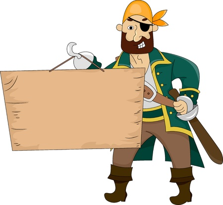 booty pirate: Illustration of Pirate carrying a Blank Board