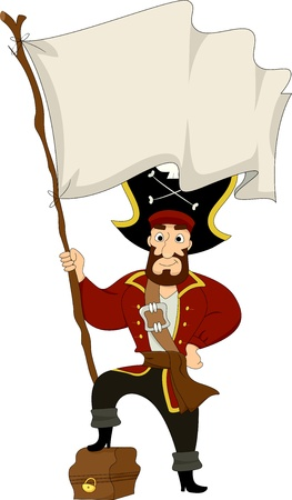 stepping: Illustration of a Male Pirate stepping on a Treasure Chest while holding a Blank Pirate Flag