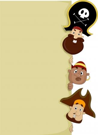 Illustration of Male Pirates peeking behind a Blank Board Stock Illustration - 20040404
