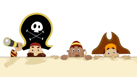 Illustration of Male Pirates hiding on a Blank Board Stock Illustration - 20040389