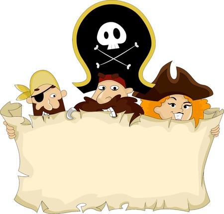 Illustration of Pirates holding a Blank Map Stock Illustration - 20040522