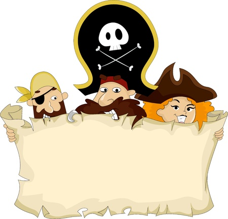 mujer pirata: Ilustración de piratas con un mapa en blanco