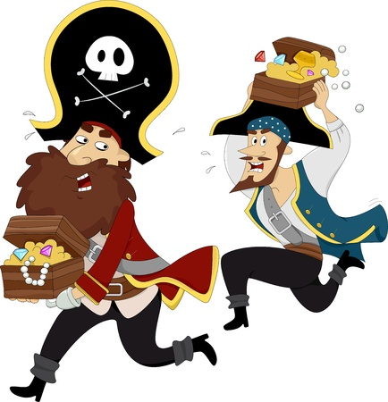 plunder: Illustration of Male Pirates Chasing each other while carrying Treasure Chest Stock Photo