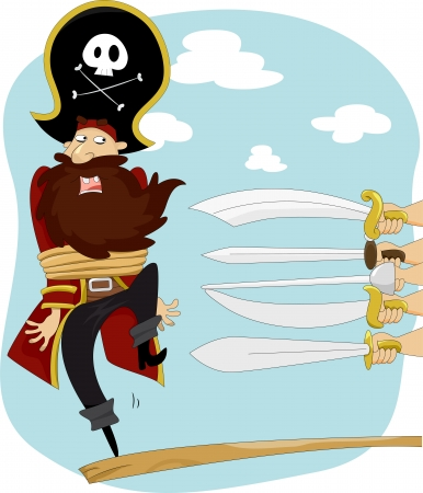 execution: Illustration of Swords Pointing on Male Pirate Walking the Plank for Execution
