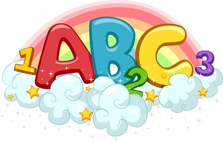 educativo: Ilustración de ABC y 123 en las nubes con las estrellas y el arco iris