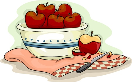 food clipart: Illustration of Bowlful of Apples with a Peeled Apple on the Side
