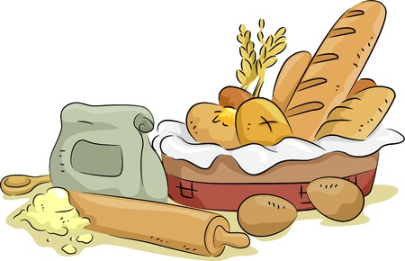 rolling bag: Illustration of Basket of Bread with Baking Materials and Ingredients