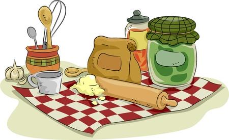 measuring spoon: Illustration of Baking Utensils and Ingredients