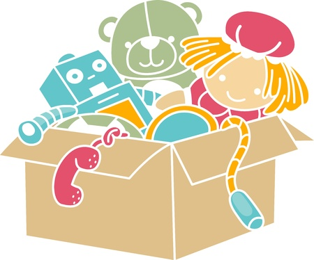 Illustration of Box Full of Toys Stencil illustration