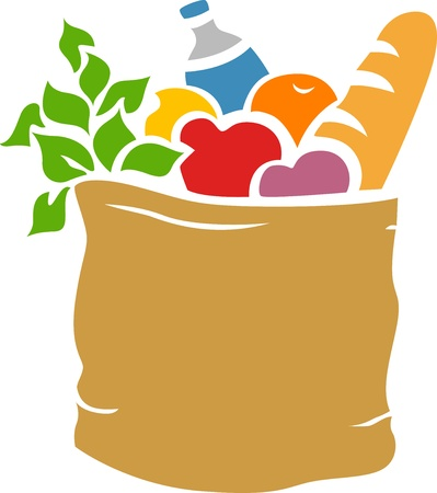 grocery: Ilustraci�n de la bolsa de supermercado llena de tiendas de comestibles Stencil