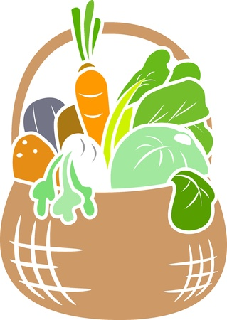Illustration of Basket Full of Vegetables Stencil illustration