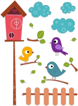 birdhouse: Illustration of Cute and Colorful Bird with Birdhouse Sticker Designs Stock Photo