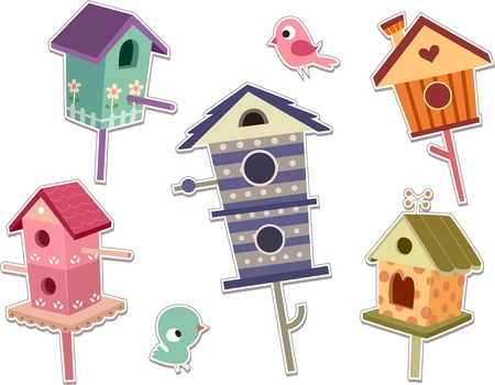 bird house: Illustration of Cute Bird House Sticker Designs