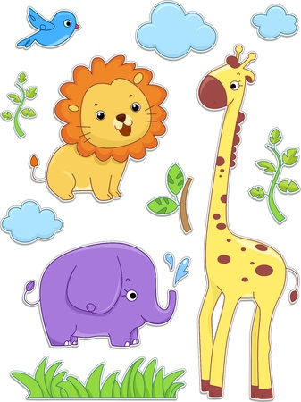 Illustration of Safari Animals Sticker Designs illustration