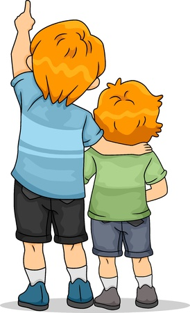 child looking up: Back View Illustration of Boy Siblings Looking Up