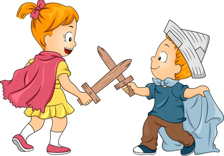 siblings: Illustration of Little Male and Female Siblings Playing Swordfight