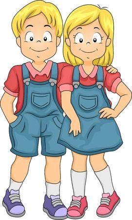 gemelas: Ilustración del Niño y niña de hermanos gemelos
