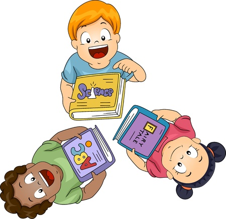 schooler: Illustration of Little Boys and Girls Each Holding a Book Looking Up