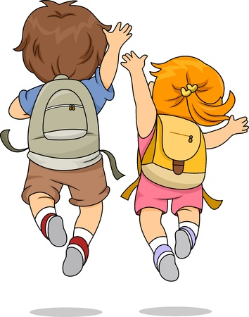 school backpack: Back View Illustration of Little Male and Female Kids wearing Backpacks Jumping Merrily Stock Photo