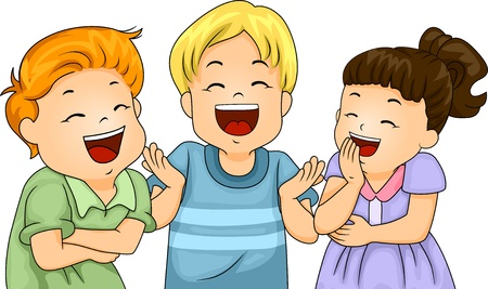 spirited: Illustration of Little Male and Female Kids Laughing Hard