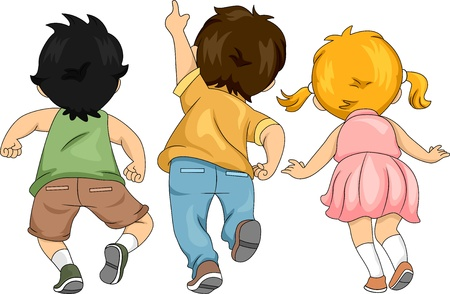 rear view girl: Back View Illustration of Little Male and Female Kids Looking Up and Pointing Upwards