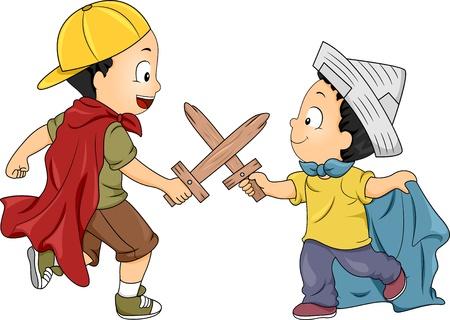 playmates: Ilustración de niños jugando Knight tiene un Swordsfight con espadas de madera