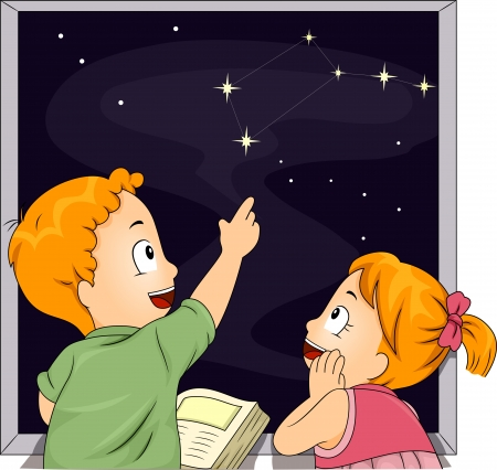 dipper: Illustration of Male and Female Kid Siblings Studying Constellations