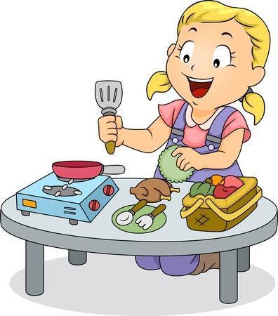 cocina caricatura: Ilustración de un niño pequeño niña juega con los juguetes de cocina Foto de archivo