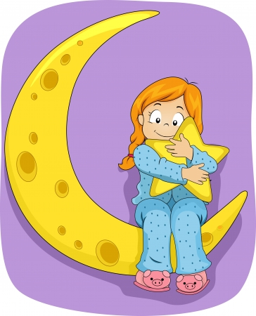 pjs: Illustration of Little Kid Girl on Pajamas sitting on the Moon while hugging a Star